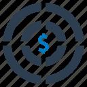 budget, money, profit, target icon