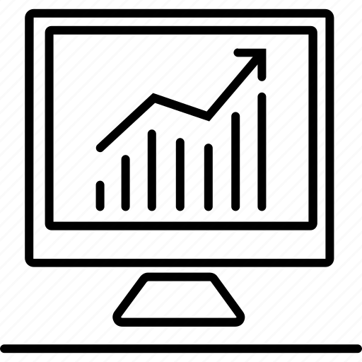 analysis, chart, computer, finance, pc icon