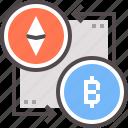 bitcoin, crypto, cryptocurrency, ethereum, exchange, market, trade icon
