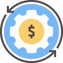 cogs, making, money, process, work icon