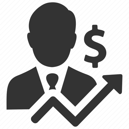 businessman, earnings, finance, income, profit, salesman, statistics icon