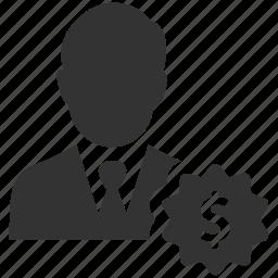 dollar, earnings, finance, financial, person, salesman, user icon