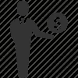 businessman, dollar, earnings, finance, money, savings, user icon