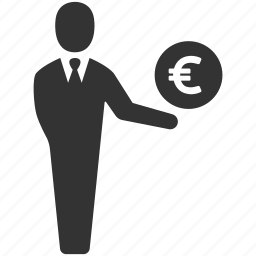 businessman, earnings, euro, finance, income, salesman, user icon
