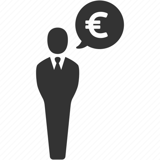 businessman, earnings, euro, finance, money, salesman icon