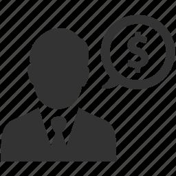 business, businessman, dollar, earnings, finance, money, sales icon