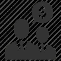 banking, finance, group, money, nagotiations, people, salesmen icon