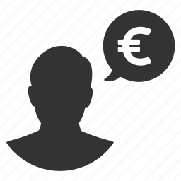 earnings, euro, finance, money, person, talk, user icon