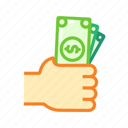 cash, dollar, finance, hand, money, payment icon