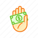 cash, dollar, finance, hand, money, note, payment icon
