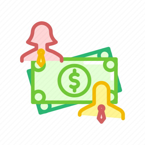 cash, dollar, female, finance, male, note, payment icon