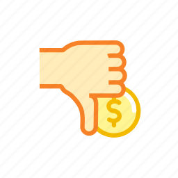 american, coin, currency, dollar, down, thumbs icon