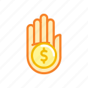 american, coin, currency, dollar, finance, hand icon