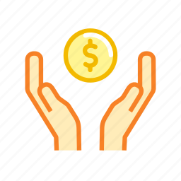 american, care, coin, currency, dollar, finance, hands icon