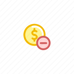 american, coin, currency, dollar, finance, minus, money icon