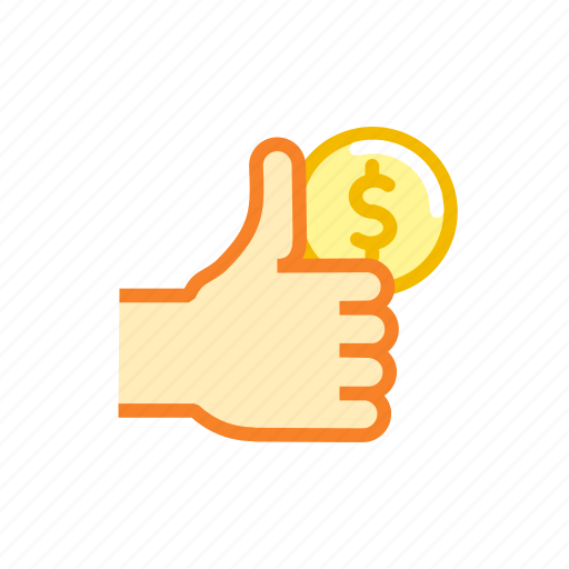 american, currency, dollar, finance, sign, thumbs, up icon