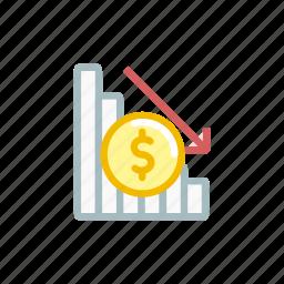 down, finance, loss, market, position, statics, stock icon