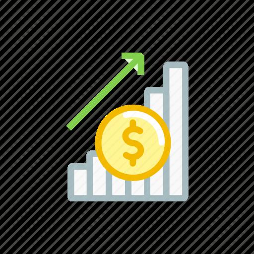 finance, growth, market, position, statics, stock, up icon
