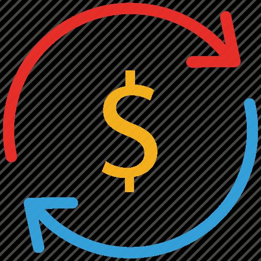dollar, finance, refresh icon