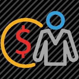 businessman, finance icon