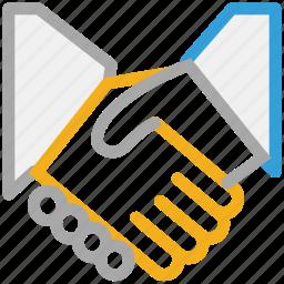 business partner, businessmen, deal, shake hand icon