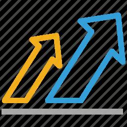 arrows, ascending, ascending arrows, benefit icon