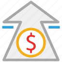 dollar, finance, up sign, value icon