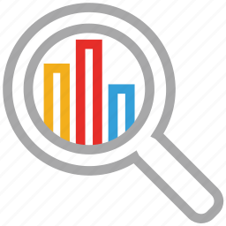 analytics, chart, magnifier, statistic icon