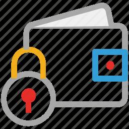 cash, lock sign, safe, wallet icon