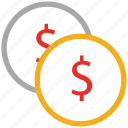 cash, coins, dollars, finance icon