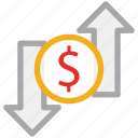 dollar, down arrow, up arrow, value icon