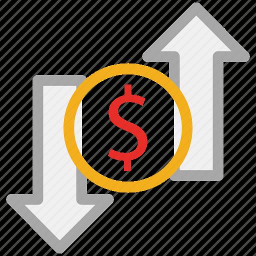 dollar, down arrow, up arrow, value icon