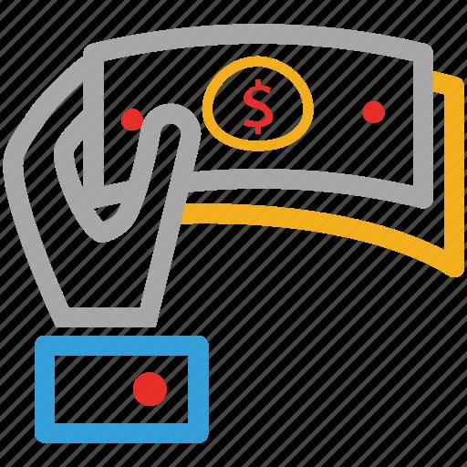 customer, dollars, giving money, shopping icon