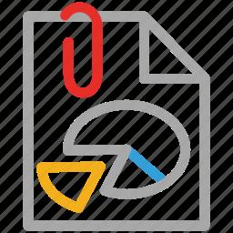 attach, attached, attachment, business report icon