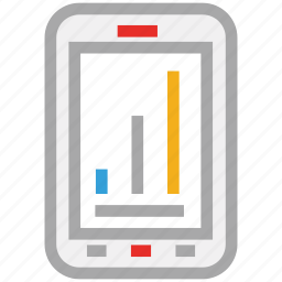 chart display, mobile, online business, online business report icon