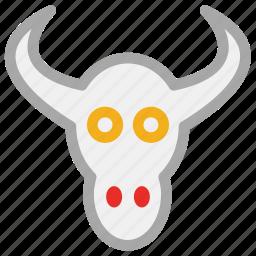animal, bull, bull head, skull of ox icon