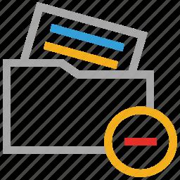 file folder, folder, minus sign, remove document icon