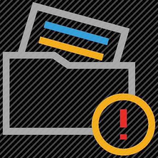error, exclamation sign, file folder, folder icon