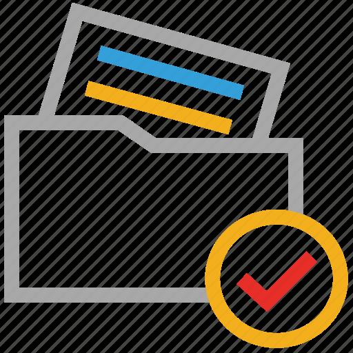 check mark, checked, document, file folder icon