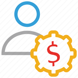 buyer, customer, dollars sign, user icon