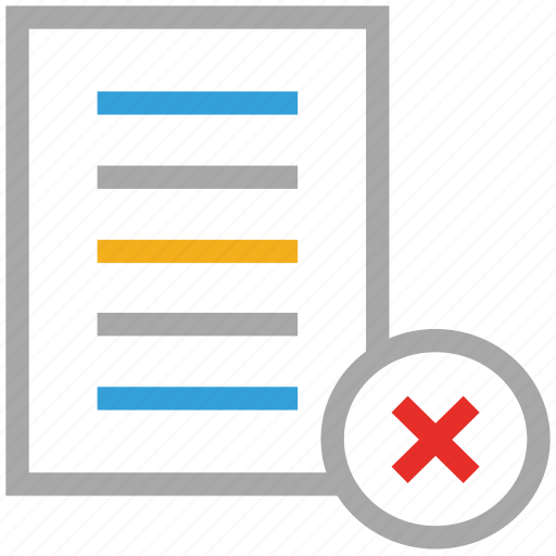 cross sign, document, file, text file icon