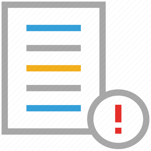 document, exclamation mark, file, text file icon