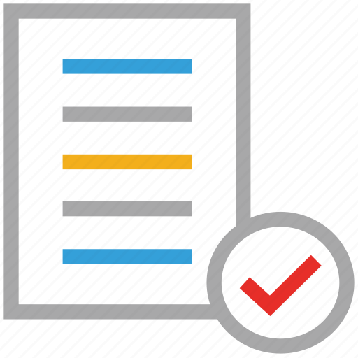 check mark, document, file, text file icon