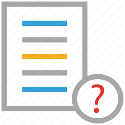 document, file, question mark, text file icon