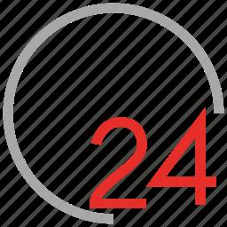 service, support, twenty four hours, work icon