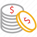 coins, dollars, money, savings icon
