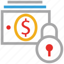 cash flow, dollars, lock sign, secure money icon