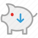down sign, piggy, piggy bank, savings icon
