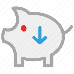 down sign, piggy, piggy bank, savings icon