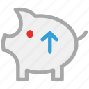piggy, piggy bank, savings, up sign icon